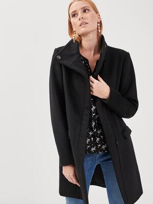 Manteau droit col montant noir femme