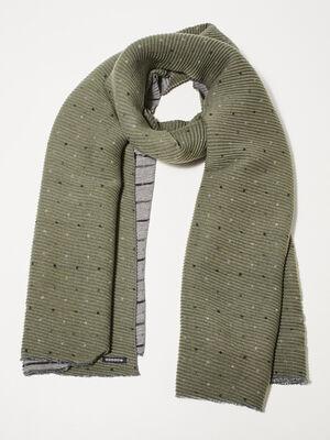 Foulard en maille gaufree imprimee vert kaki femme
