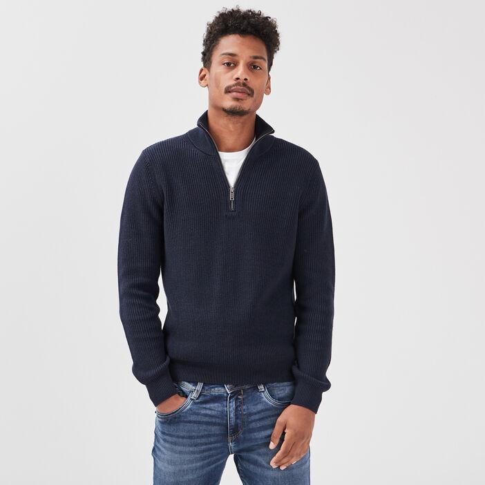 Pull manches longues zippé bleu foncé homme