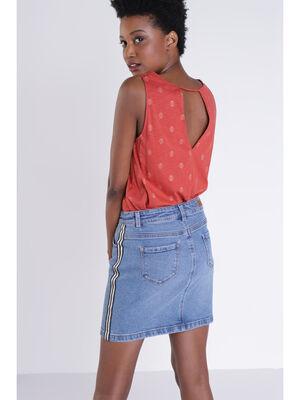 T shirt sans manches orange fonce femme