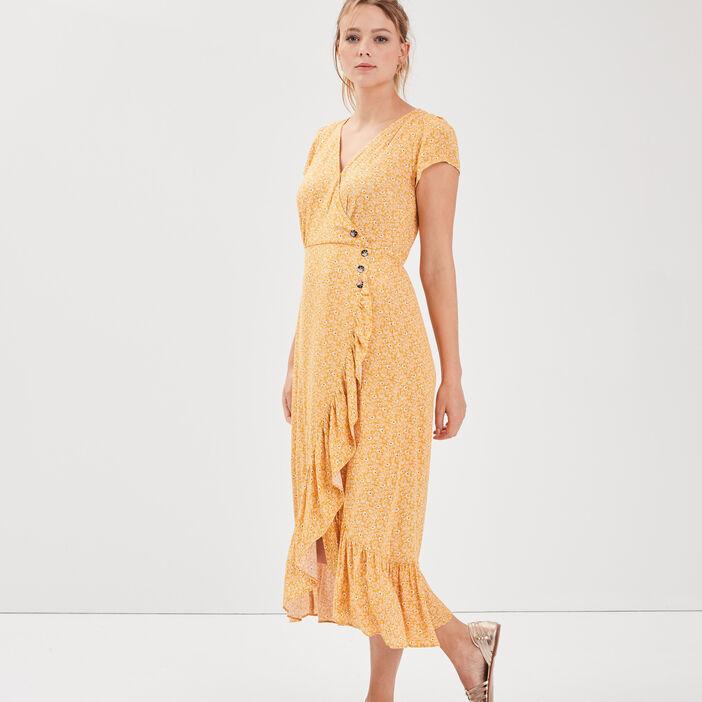 Robe longue évasée jaune foncé femme