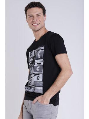 T shirt imprime noir homme