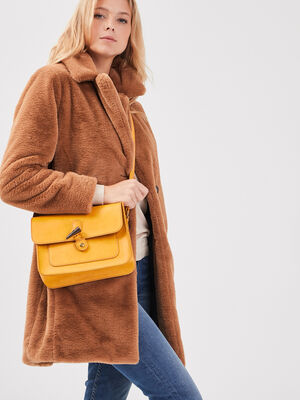 Sac bandouliere carre jaune or femme