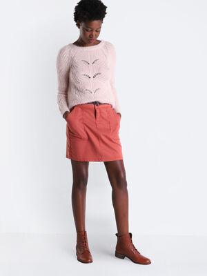 Jupe droite ceinturee vieux rose femme