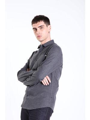 Chemise imprimee a carreaux gris homme