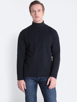 T shirt Instinct col roule noir homme