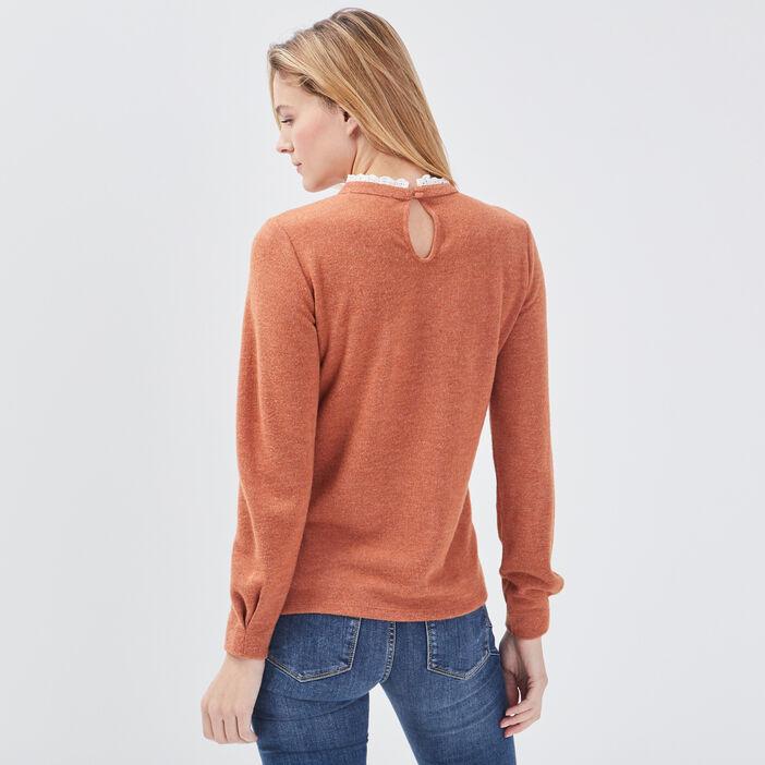 Sweat manches longues orange foncé femme