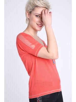 Pull manches courtes col en V orange corail femme