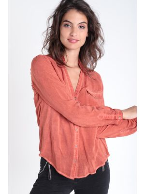 Chemise manches longues orange fonce femme