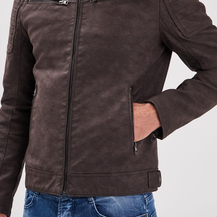 Veste ajustée esprit biker marron homme