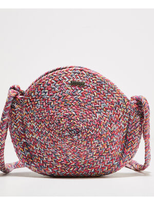 Sac bandouliere rond tresse rouge corail femme