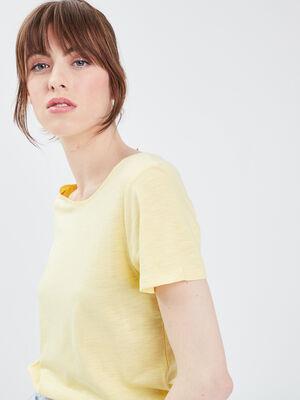 T shirt eco responsable jaune pastel femme