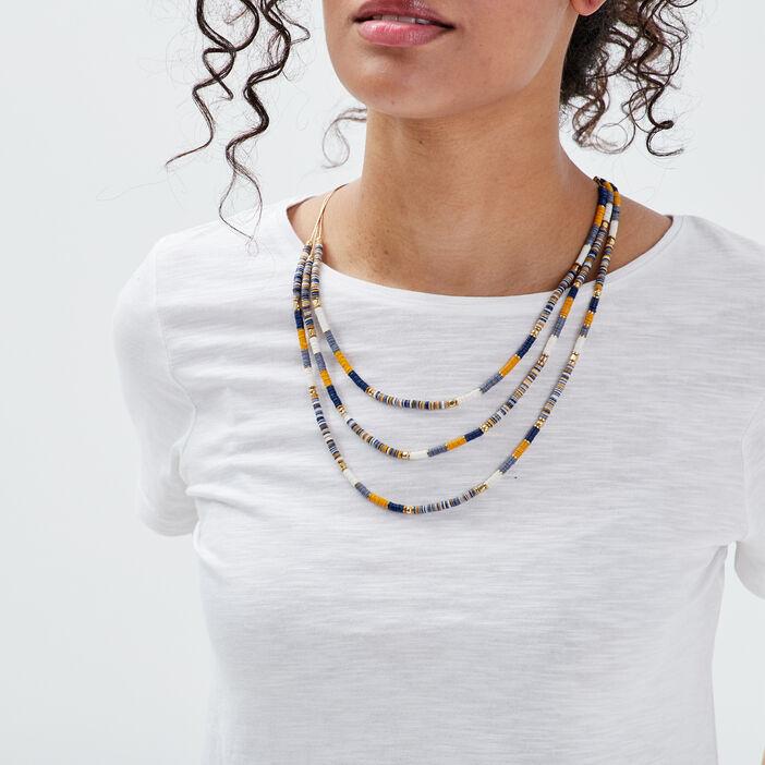 Collier multirangs avec perles bleu gris femme