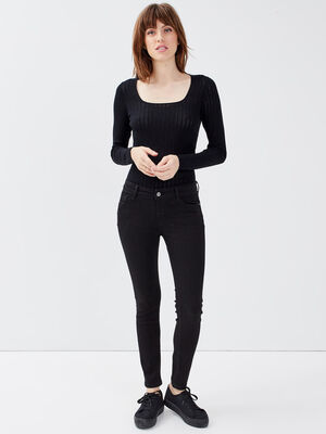 Jeans slim push up 78eme denim noir femme