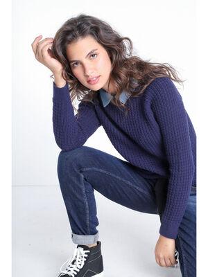 Pull col chemise 2 en 1 bleu marine femme