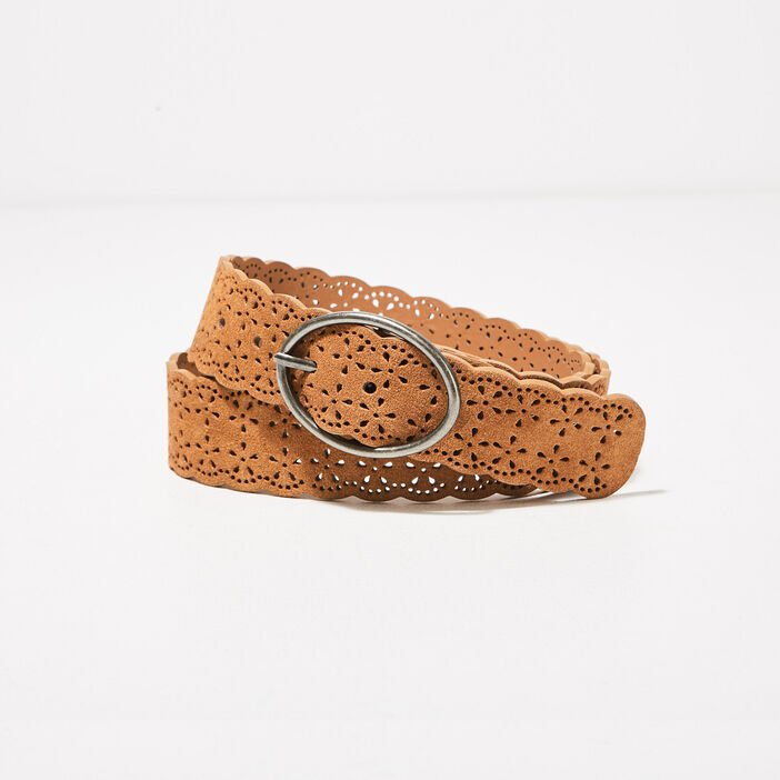 Ceinture cuir détails perforés marron femme