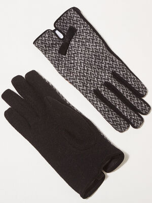 Gants details noeuds noir femme