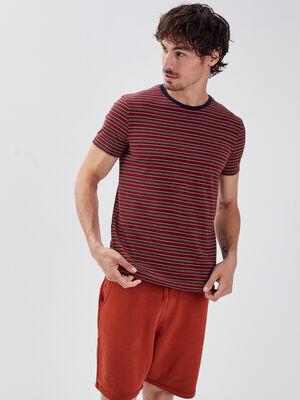 T shirt manches courtes orange fonce homme
