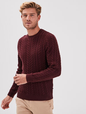 Pull manches longues violet fonce homme