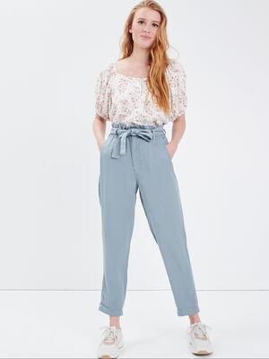 Pantalon slouchy ceinture gris fonce femme