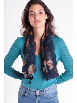 Foulard bords a glands bleu marine femme
