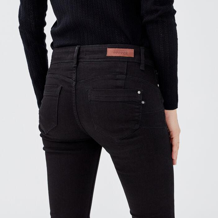 Jeans slim push up 7/8ème denim noir femme