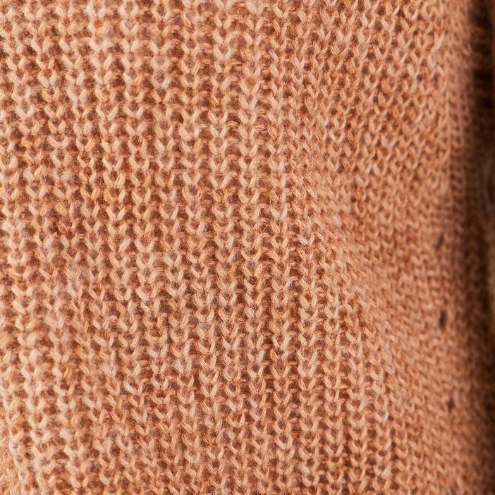 Cardigan manches longues marron cognac femme