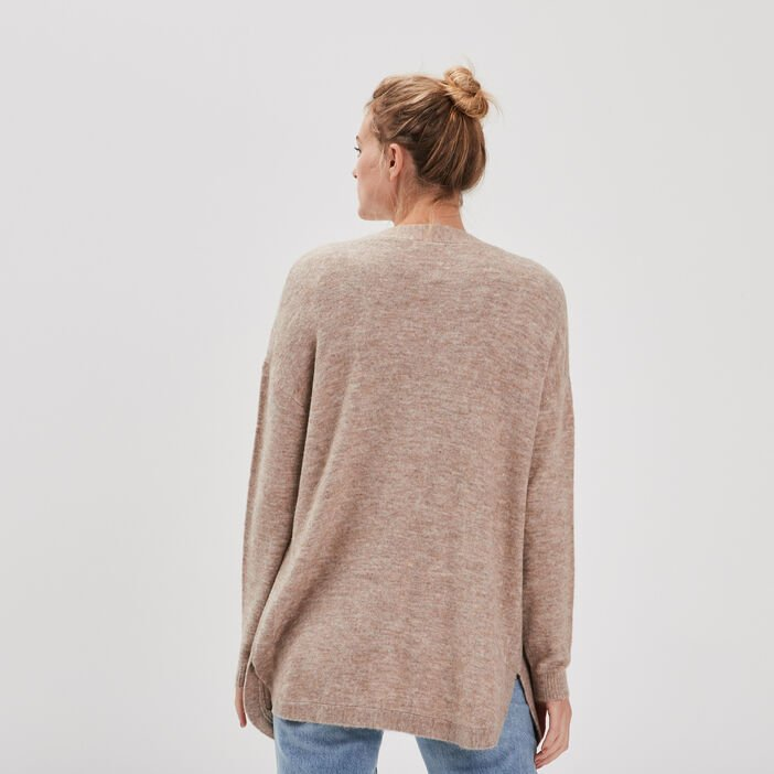 Cardigan manches longues taupe femme