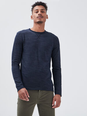 T shirt manches longues bleu marine homme