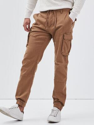 Pantalon cargo taille a cordon beige homme