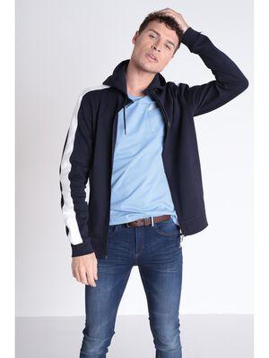 Sweat zippe bleu fonce homme
