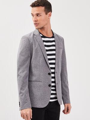 Veste blazer cintree boutonnee gris fonce homme
