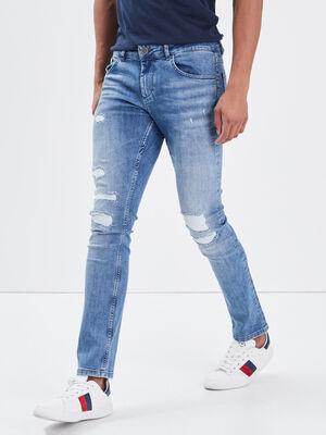 Jeans skinny details destroy denim used homme