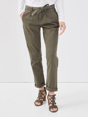 Pantalon paperbag 78eme vert kaki femme