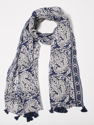 Foulard bleu fonce femme