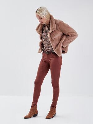 Pantalon Audrey  skinny push up marron fonce femme