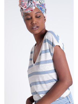 T shirt manches courtes bleu gris femme