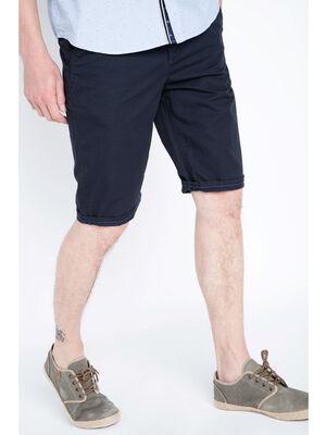 Bermuda chino droit coton bleu fonce homme
