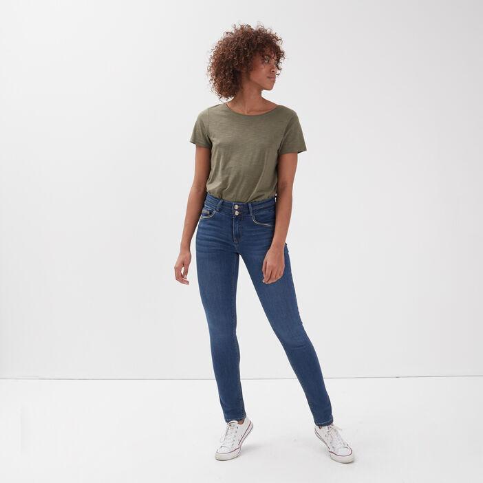 Jeans slim liserés métallisés denim stone femme