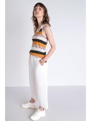 Pantalon large ecru femme