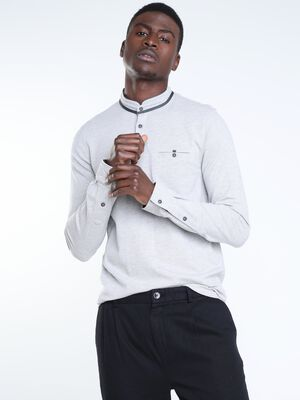 Polo manches longues a boutons gris fonce homme