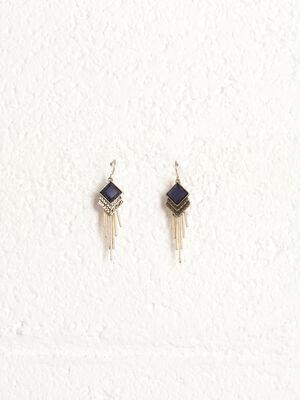 Boucles doreilles pendantes bleu fonce femme