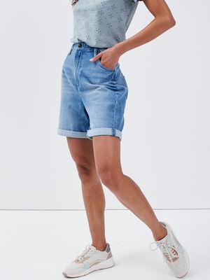 Bermuda droit en jean denim used femme