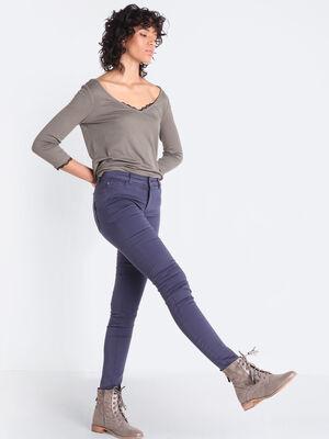 Pantalon skinny push up bleu marine femme