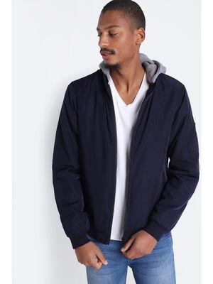 Veste droite zippee a capuche bleu fonce homme