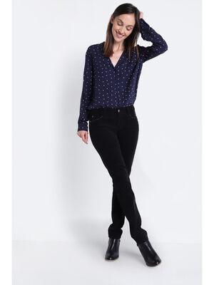 Pantalon slim effet velours noir femme