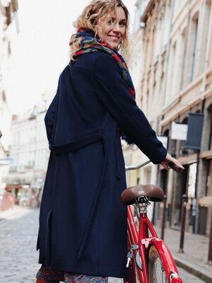 Manteau droit ceinture bleu fonce femme