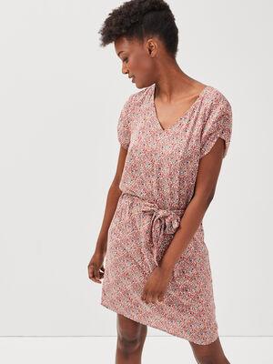 Robe droite ceinturee rose femme