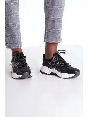 Baskets plates a lacets noir femme
