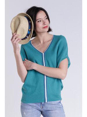 Pull manches courtes bleu canard femme
